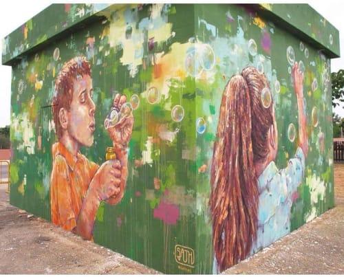 Street Murals by Sath seen at Sa Coma, Sa Coma - Child playing paint dreams on bubbles