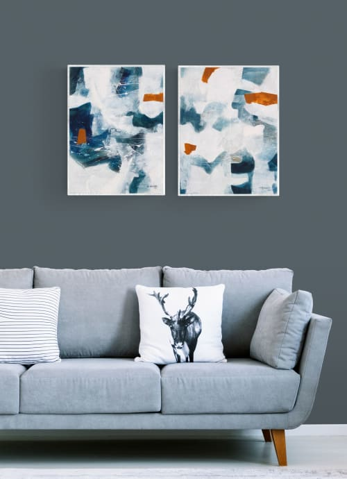 Paintings by Simona Gocan seen at Creator's Studio, Goodyear - Night and Day (Diptych)