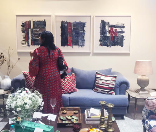 Art Curation by Arrti Mansinghka seen at Private Residence, Mumbai - Neel - Indigo Series