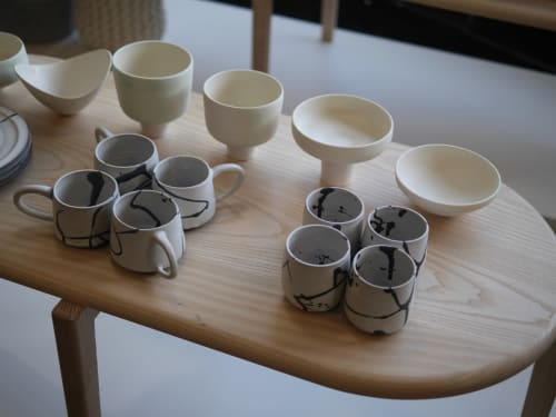 Cups by Erin Hupp Ceramics seen at Wescover Gallery at West Coast Craft SF 2019, San Francisco - Ink Splatter Mug