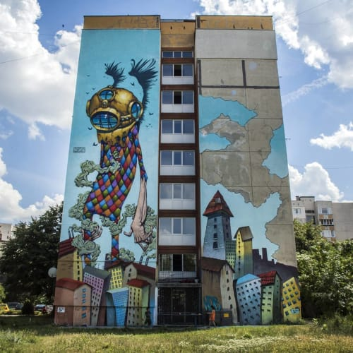 "Street Murals by Bozko seen at ulitsa ""Ostrovo"", Sofia - Mural"