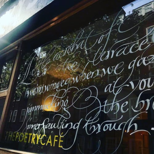Art & Wall Decor by PAScribe seen at The Poetry Café, London - Window Calligraphy