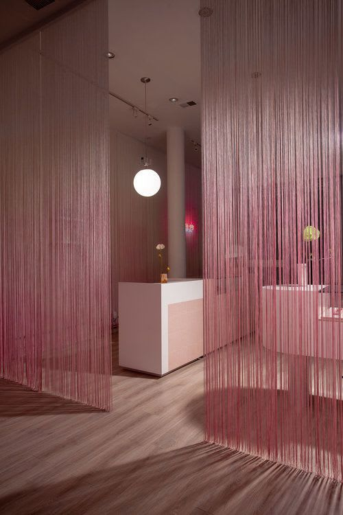 Curtains & Drapes by Sergio Mannino Studio seen at Glam Seamless Hair Extensions Flagship Salon & Store, New York - Ombre String Curtains