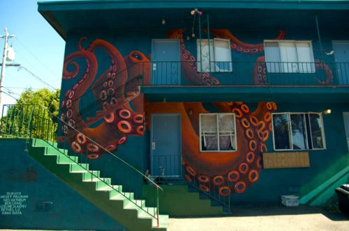 Street Murals by Lindsey Millikan (Milli) seen at Private Residence - Oakland, CA, Oakland - Killer Octopus Mural
