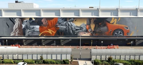 Murals by Cam Scale seen at Elizabeth, Elizabeth - Holden Workers Memorial