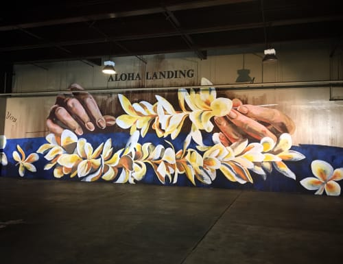 "Murals by Kai'ili Kaulukukui seen at Sheraton Waikiki, Honolulu - ""A Lei For You"""