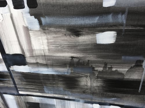 Paintings by Leah Nadeau seen at Private Residence - Ann Arbor, MI, Ann Arbor - Newsprint - Black and White Abstract Painting