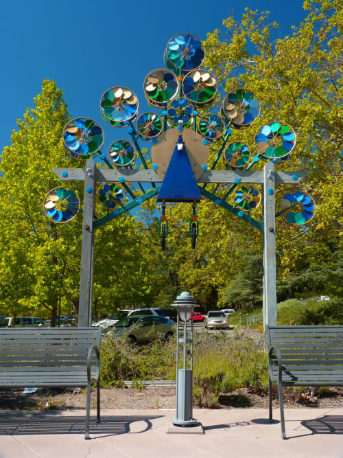 Public Sculptures by Patricia Vader seen at Orinda Library, Orinda - Wheeley Whirly Peacock
