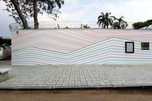 "Murals by Felix Rodewaldt seen at Embassy Of The Federal Republic Of Germany, New Delhi - ""India Hills 2017"""