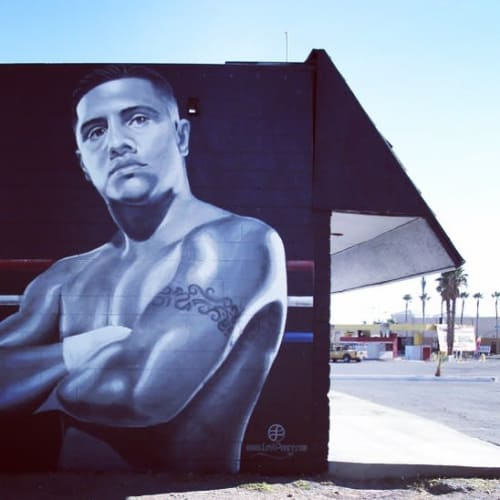 Street Murals by Levi Ponce seen at Fernando Vargas Fighting Foundation, North Las Vegas - Portrait of El Feroz