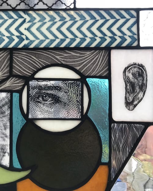 Art & Wall Decor by Expanded Eye seen at Pittsburgh Glass Center, Pittsburgh - Copper Foiled Stained Glass Collage