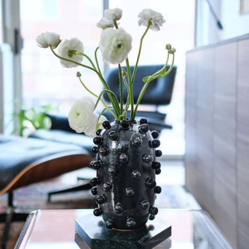 Vases & Vessels by ZZIEE Ceramics seen at Private Residence, Brooklyn - Big Black Blob Bullet Vase