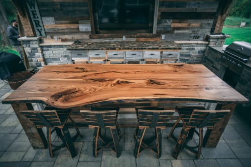 Tables by Lane 17 Design Co. seen at Private Residence, Chagrin Falls - Rustic Red Oak Bar Top