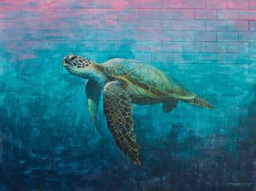 "Murals by Chapman Hamborg seen at Peterson Elementary, Huntington Beach - ""Sea Turtle"" mural"