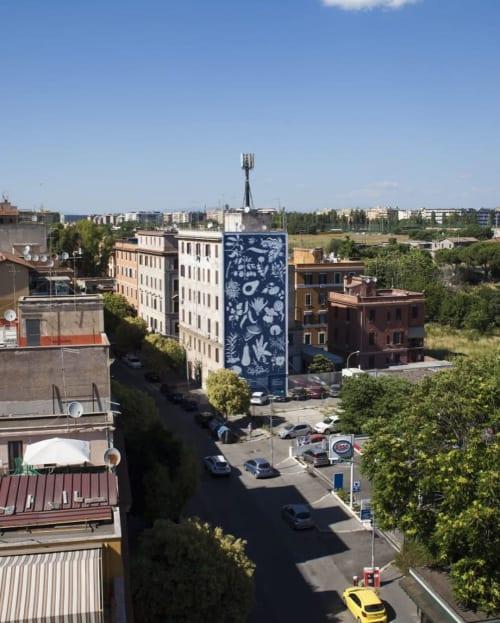 "Street Murals by Tellas seen at Tor Pignattara, Rome - ""Herbarium"" Mural"