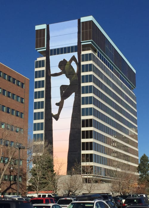 Murals by Altitude Murals seen at 1720 S Bellaire St, Denver - The Climber