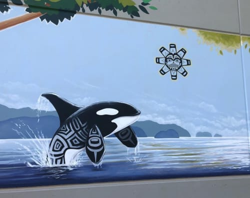Street Murals by Kelly Everill Zotek seen at Brooklyn Elementary School, Brooklyn - Whale mural