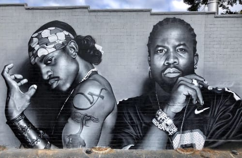 Street Murals by JEKS seen at Atlanta, Atlanta - OutKast Tribute