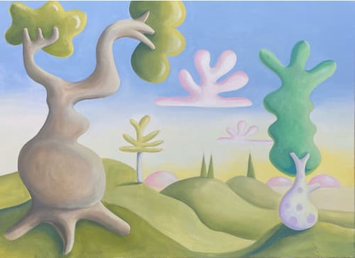 Paintings by Daisy Dodd-Noble seen at Lime Grove, London - Isolation landscape