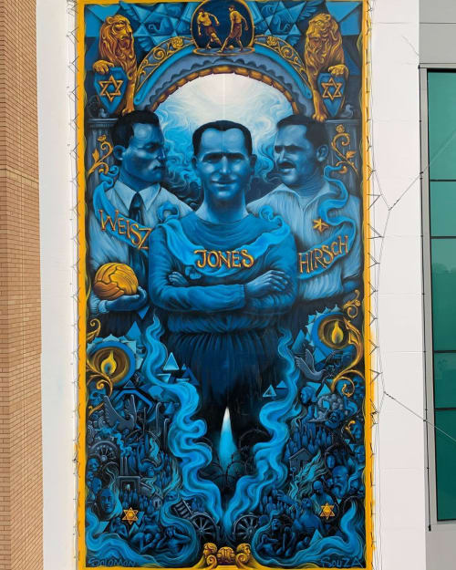 Street Murals by Solomon Souza seen at Chelsea FC Museum and Stadium Tours, London - Mural
