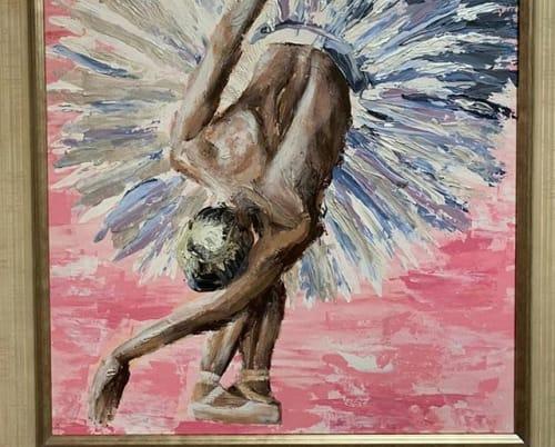 Paintings by Antonia Jameson seen at Tina's Dance Studios, Wigan - Three Ballerinas