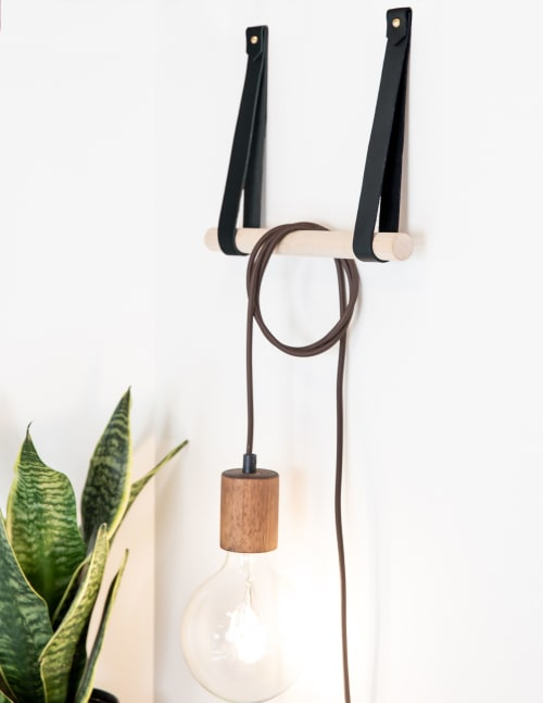 Hardware by Keyaiira | leather + fiber seen at Private Residence, Santa Rosa - Large Leather Wall Strap [V'ed End]