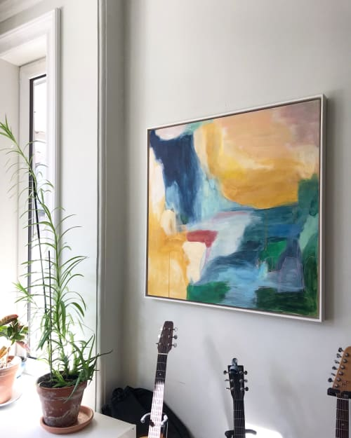Paintings by Cristina Getson seen at Private Residence, Toronto - Raspberry Sorbet Sunset painting