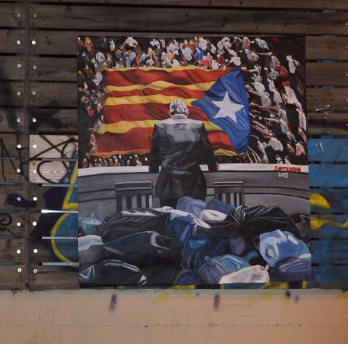 Murals by JUPITERFAB seen at Carrer de la Marina, Barcelona - Mural about Catalan indipendentism