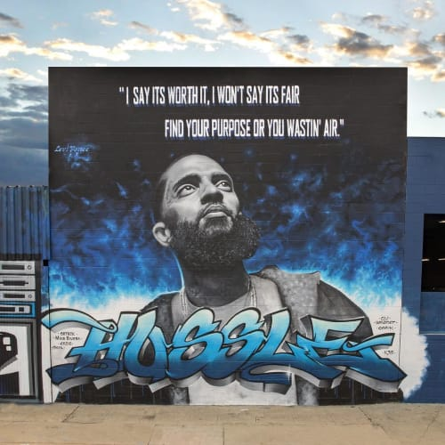 Street Murals by Levi Ponce seen at 1547 Estudillo Ave, Los Angeles - Nipsey Hussle