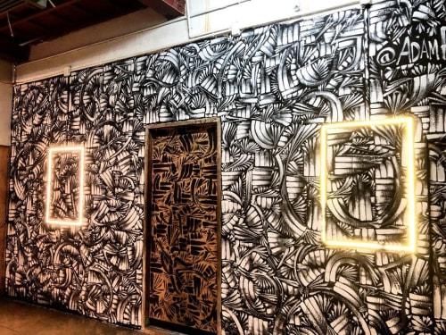 Murals by Adam Palmeter seen at Khaosan Comedy Club, Khwaeng Talat Yot - Khaosan Comedy Club mural