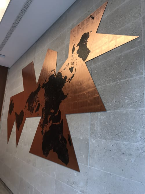 Wall Hangings by Ewan David Eason seen at DLA Piper, London - Dymaxion Mundi