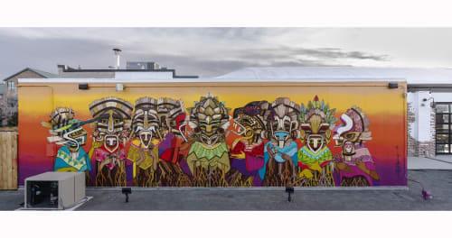 Street Murals by Kroniko Arte seen at Raices Brewing Company, Denver - Raíces Mural