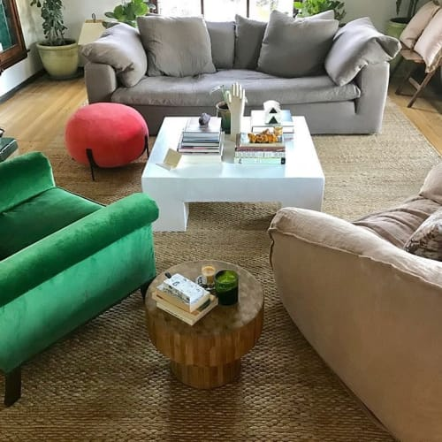 """Tables by Oken House Studios seen at Private Residence, Los Angeles - """"White Mid-Century Handmade Plaster Coffee Table"""""""