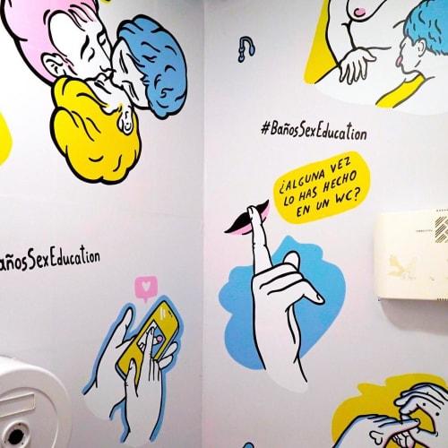Murals by Sanz i Vila seen at Moloko Sound Club, Madrid - Moloko Sound Club mural