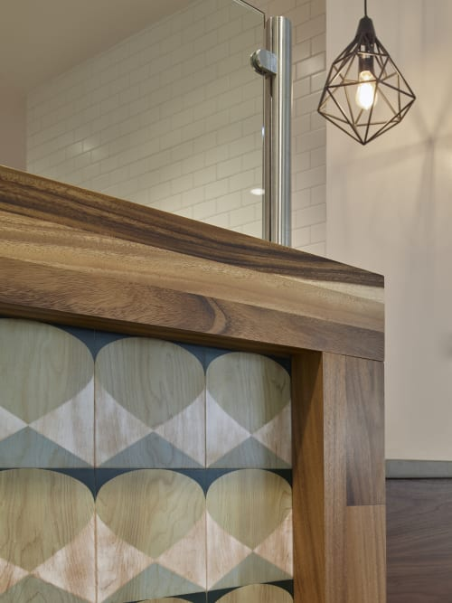 Tiles by Studio KDA seen at Roundhouse Market & Conference Center, San Ramon - Handpainted Wood Tile