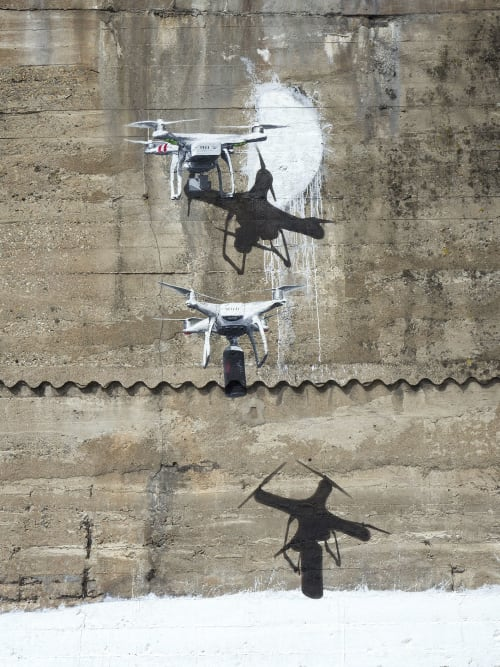 Street Murals by Murmure Street seen at Île de Nantes, Nantes - Drôles de Drones