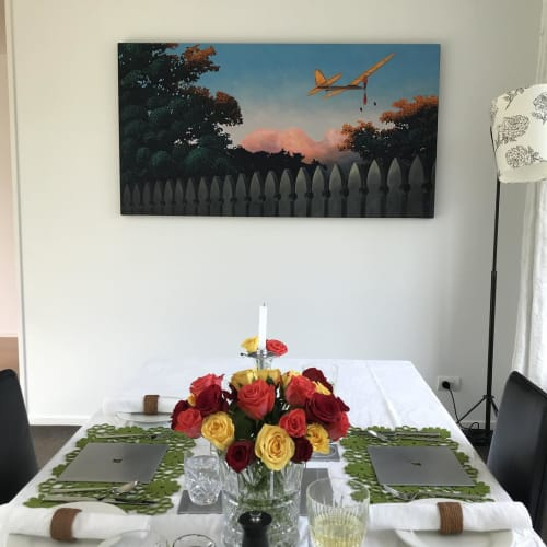 Paintings by ross jones seen at Private Residence, Auckland - Final Flight