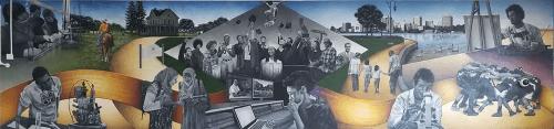Murals by Lindsey Millikan (Milli) seen at McClymonds High School, Oakland - McClymonds High School Library Mural