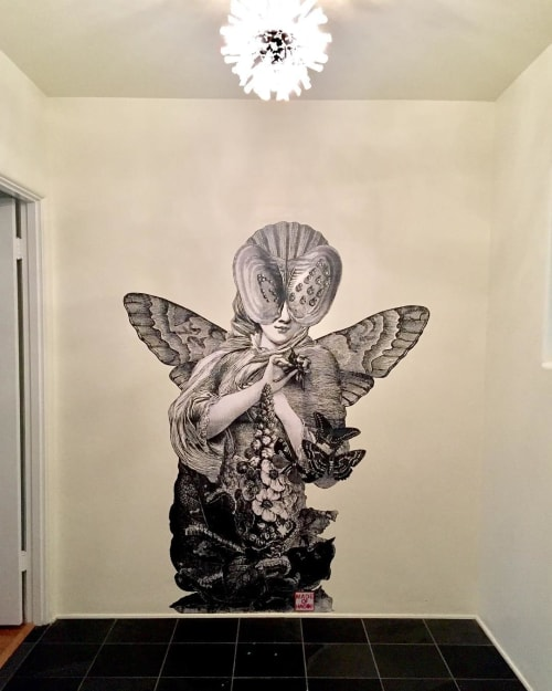 Murals by Made of Hagop seen at Private Residence, Los Angeles - Meta