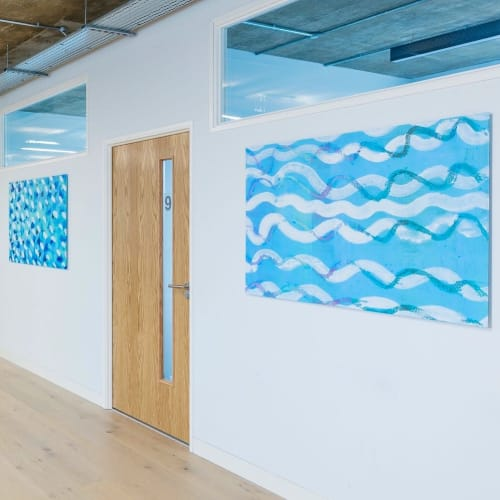 Paintings by Christopher Corr seen at Grenfell Health & Wellbeing Service, London - Paintings