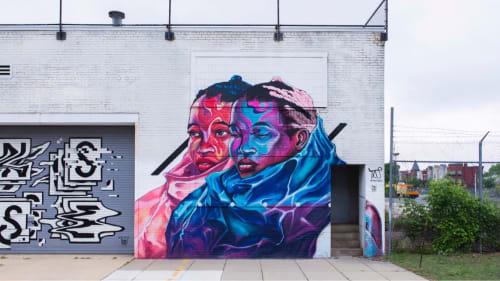 Murals by Taj TENFOLD seen at NoMa, Washington - Two