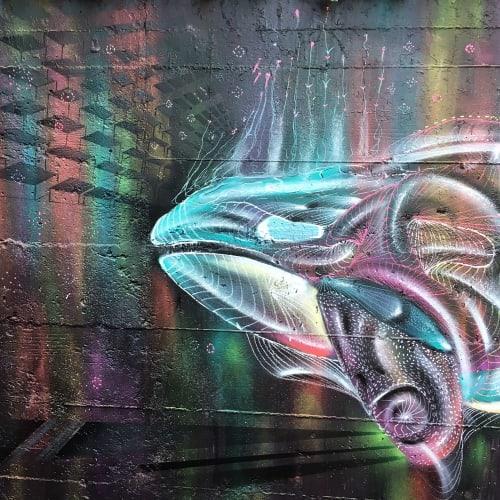 Street Murals by Max Ehrman (Eon75) seen at 199 Valencia St, San Francisco - Little Orca in Zeitgeist