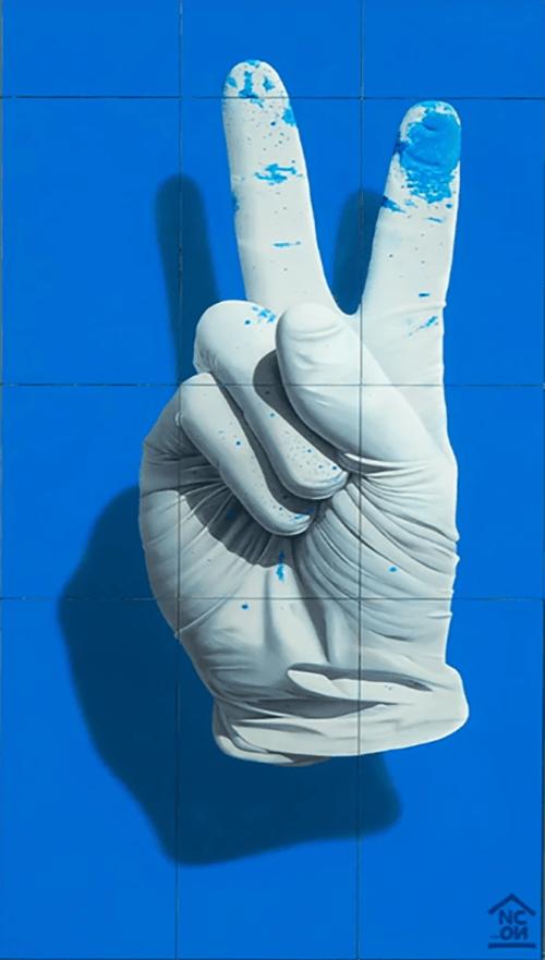 "Street Murals by Nuno Viegas seen at Leiden Centraal, Leiden - ""Glove II"""