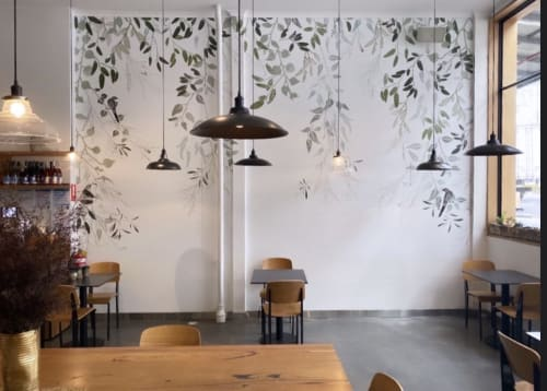 Murals by Trudy Rice seen at Proper & Son, South Melbourne - Australian Eucalyptus and Wattlebirds
