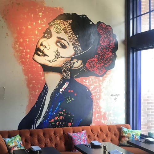 Murals by Artist Jenny Vyas seen at ROOH, Chicago - ROOH Chicago Mural