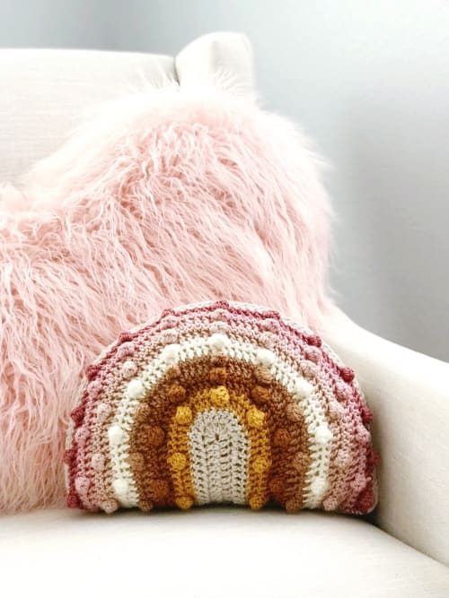 Pillows by Mama Made Minis seen at Creator's Studio - Juni Bobble Rainbow Pillow