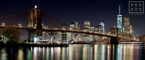 Photography by Andrew Prokos Fine Art Photography seen at New York, New York - Brooklyn Bridge Night Skyline