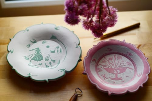 Ceramic Plates by Lydia Horne Ceramics seen at Creator's Studio - English Countryside Porcelain Decorative plates