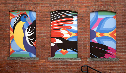 Street Murals by Toni Miraldi / Mural Envy seen at La Mitad del Mundo, Danbury - Migration