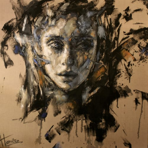 "Paintings by Hamilton-art seen at Private Residence, Eindhoven - Painting ""Miss You"